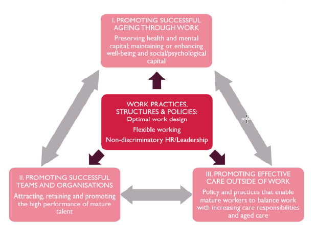 Flow diagram showing the three streams of research in the Mature Workers in Organisations (MWOS) study